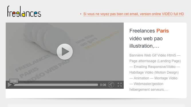 Freelances Paris Emailing Vidéo - 201606